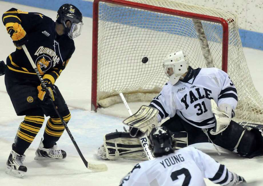 Jordan Samuels-Thomas, left, and the Quinnipiac men's ice hockey team is ranked No. 1 in the latest national poll. Mara Lavitt/New Haven Register