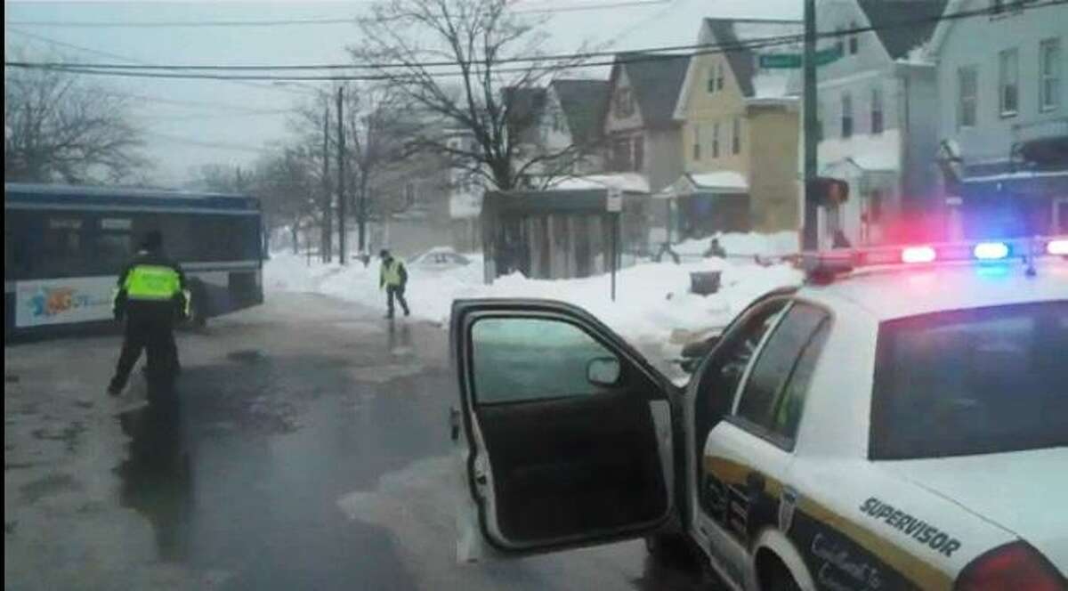 A New Haven Police Department check point