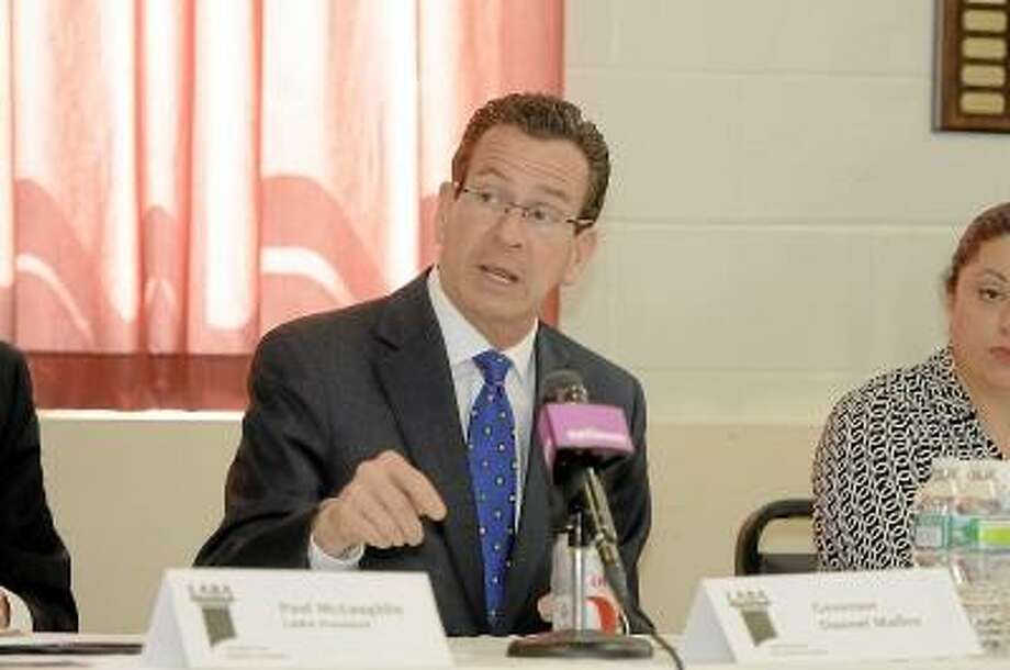Gov. Dannel P. Malloy visited the monthly meeting of the Litchfield Area Business Association on Tuesday morning at the Litchfield Fire House. (Laurie Gaboardi / Register Citizen)