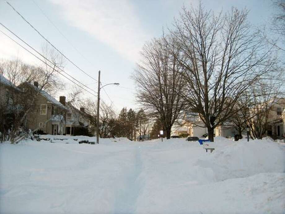 Submitted by Robert Avalone   A view of my street, Highland Terrace in Middletown. As of Sunday, we have just a foot path on our street, no plow.