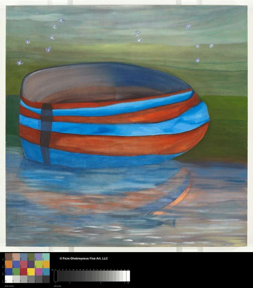 """Image courtesy of the artist's family: """"Solitary Boat in Red and Blue"""" left, is one of many vessel forms in Ghebreyesus' works. / © Ficre Ghebreyesus Fine Art, LLC"""
