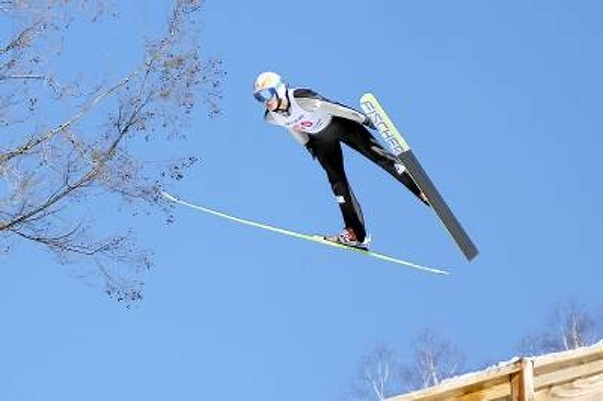 Miles Lussi takes part in the ski jump competition, Jumpfest. Laurie Gaboardi/Register Citizen.