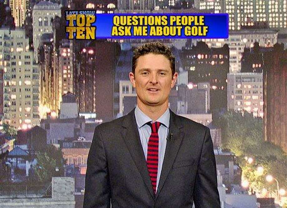 "In this still frame made from video provided by Worldwide Pants Inc., 2013 U.S. Open golf champion Justin Rose presents the ""Top Ten Questions People Ask Me About Golf"" on the ""Late Show with David Letterman,"" Tuesday, June 18, 2013. (11:35 PM-12:37 AM, ET/PT) on the CBS Television Network. (AP Photo/Worldwide Pants, Inc.) MANDATORY CREDIT; NO ARCHIVE; NO SALES; FOR NORTH AMERICAN USE ONLY Photo: AP / Worldwide Pants Inc."