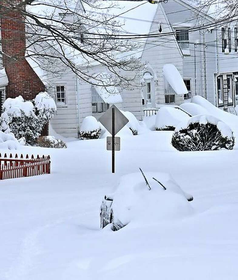 New Haven--Buried cars along Ramsdell Street in New Haven.  Photo-Peter Casolino 2/9/13