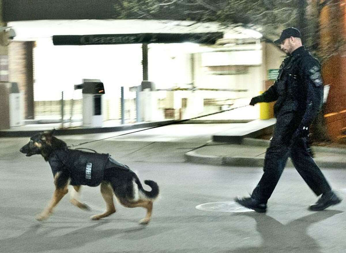 Boston- A police officer and his dog patrol the blocked off area of downtown Boston. Melanie Stengel.Register