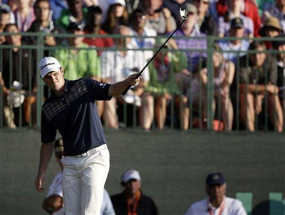 Justin Rose, of England, reacts after a putt on the 18th hole during the fourth round of the U.S. Open golf tournament at Merion Golf Club, Sunday, June 16, 2013, in Ardmore, Pa. (AP Photo/Darron Cummings) Photo: AP / AP