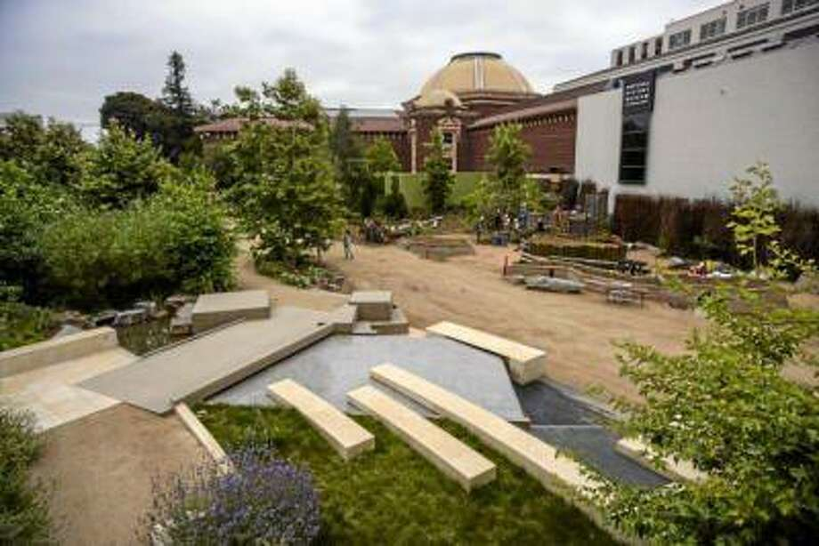 The new gardens surrounding the Los Angeles Natural History Museum is almost complete. (David Crane/Los Angeles Daily News)