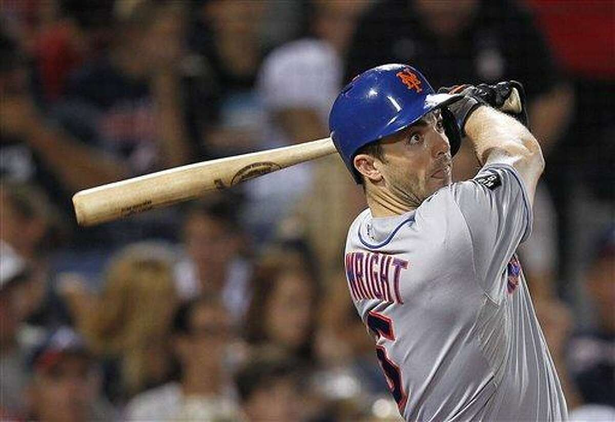 New York Mets third baseman David Wright (5) is shown against Atlanta Braves in a baseball game in Atlanta, Friday, Sept. 28, 2012. (AP Photo/John Bazemore)