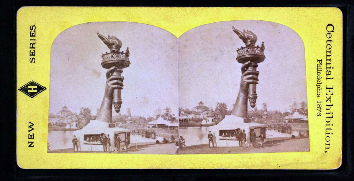 Collossal hand and torch. Bartholdi's statue of