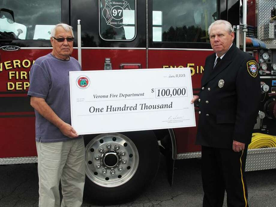 Photo Courtesy Oneida Indian Nation From left, Chuck Fougnier, Wolf Clan Member of the Oneida Nation Council; Doug Miller, Chairman of the Verona Fire District Board of Commissioners.