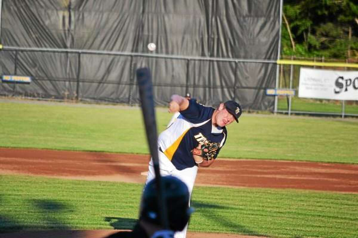 Titans starting pitcher Connor Landers went three innings, striking out one, allowing five hits and four runs all unearned. Photo by Pete Paguaga/Register Citizen