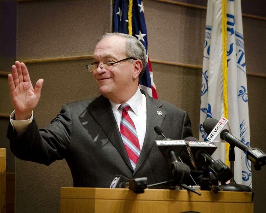 NEW HAVEN-Mayor John Destafano, during his State of the City address.   Melanie Stengel/Register