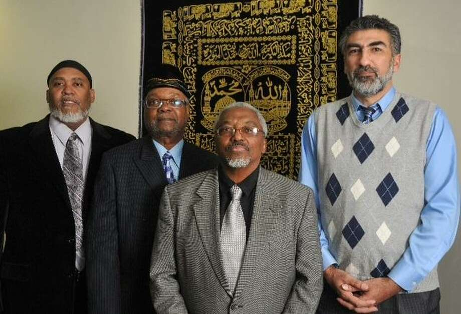 "Hamden-- From left to right; Imam Kashif Abdul-Karim, Imam Dr. Abdul-Majid Karim, Imam Nasif Muhammad and Mongi Dhaouad for Shahid Abdul-Karim story of Muslim reaction to Pope's recent comments.  Photo-Peter Casolino/Register  <a href=""mailto:pcasolino@newhavenregister.com"">pcasolino@newhavenregister.com</a>"
