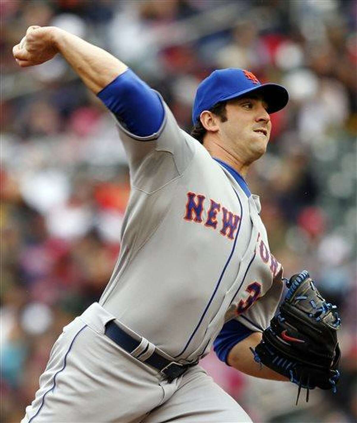 New York Mets starting pitcher Matt Harvey throws against the Minnesota Twins during the first inning of a baseball game Saturday, April 13, 2013, in Minneapolis. Harvey had the win and the Mets defeated the Twins 4-2. (AP Photo/Genevieve Ross)
