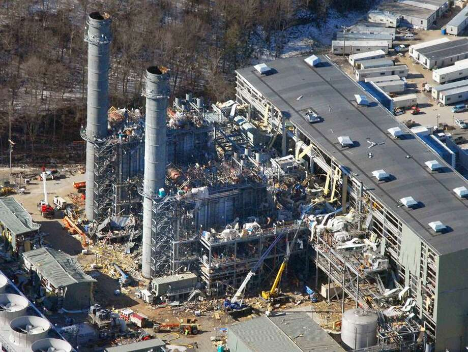 """Cas100207 02/07/10 Middletown--An aerial view of the Kleen Energy plant in Middletown the day after a massive explosion rocked the site. The explosion registered 5.0 on the Richter Scale according to the <a href=""""http://USGS.org"""">USGS.org</a> web site and was felt as far away as New York.    Photo-Peter Casolino"""