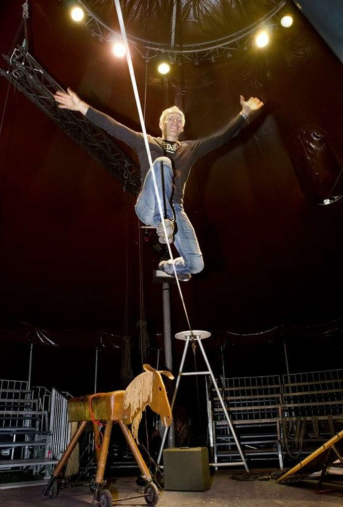 """Melanie Stengel -- Register David Dimitri is setting up his tent 6/14, on the New Haven Green. Dimitri is a one-man circus performing """"L'homme Cirque"""" throughout the International Festival of Arts and Ideas."""