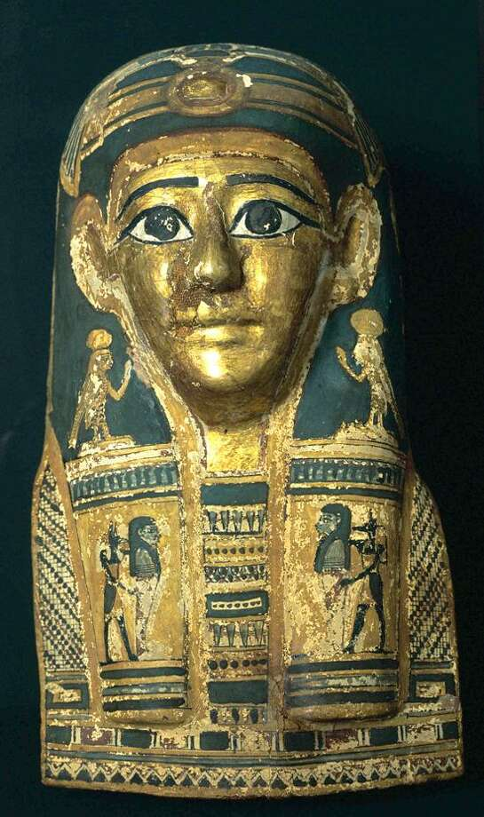 Yale Peabody Museum photo: Gilded mummy mask from Abydos, Egypt.