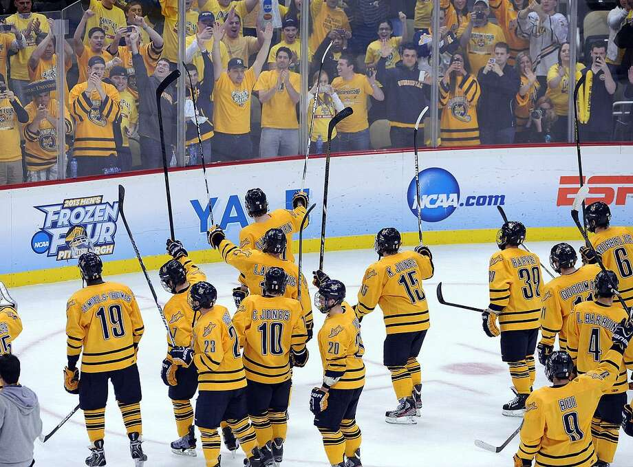 """Pittsburg, PA--  The Quinnipiac team waves to their fans after they beat St. Cloud 4-1 to advance to the National Championship game against Yale.  Photo-Peter Casolino/Register <a href=""""mailto:pcasolino@newhavenregister.com"""">pcasolino@newhavenregister.com</a>"""