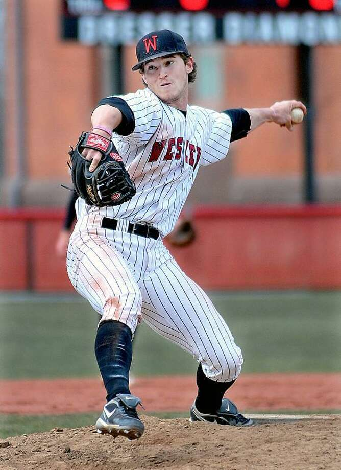 Catherine Avalone/The Middletown Press     Wesleyan sophomore Nick Cooney on the mound against Hamilton in a 5-1 win for the Cardinals at Dresser Diamond at Andrus Field in Middletown. / TheMiddletownPress