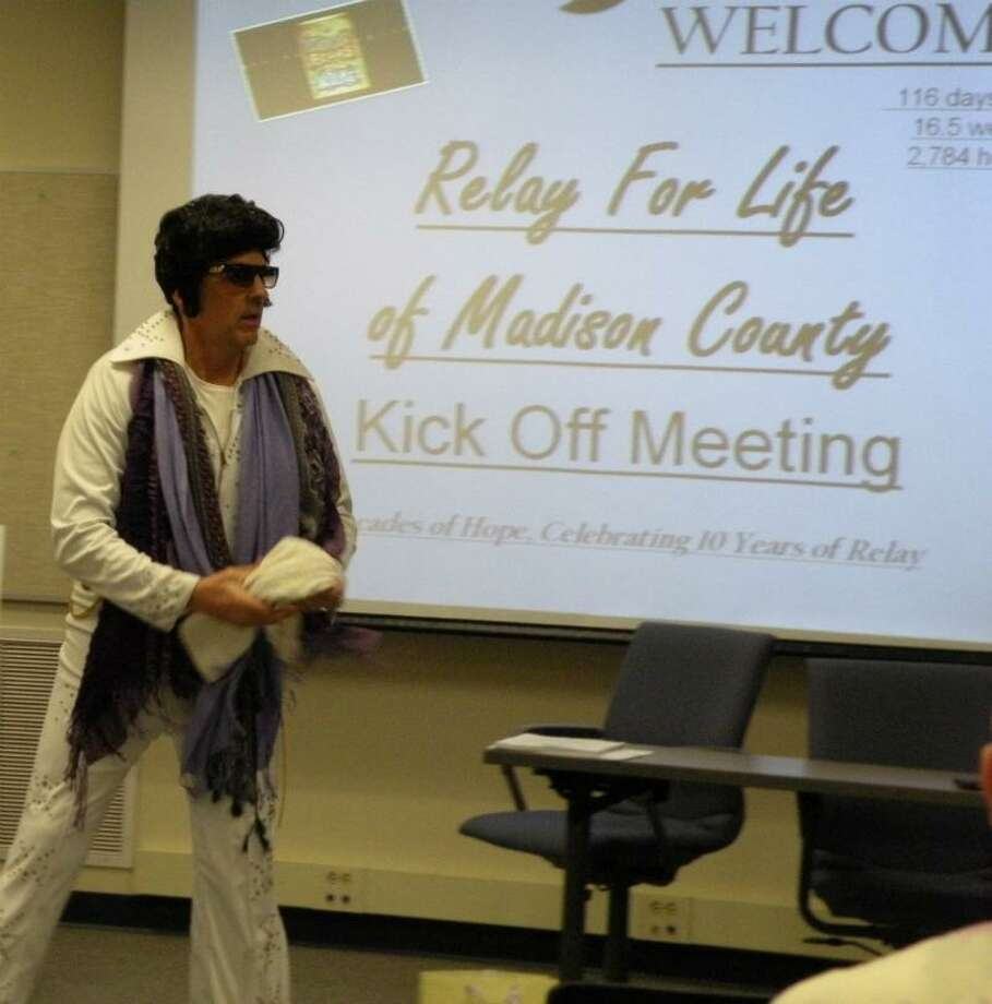 Photo Special to the Dispatch by MICHAEL YEOMAN An Elvis impersonator energizes volunteers at the 2013 Relay for Life of Madison County kickoff event Tuesday, Feb. 5, 2013, at the Costello Transportation Center.