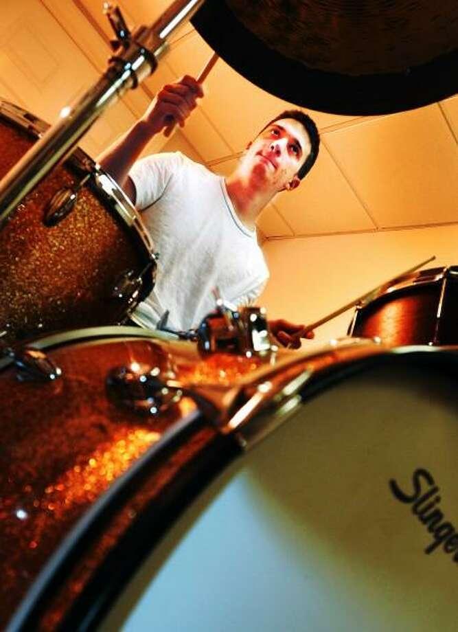 Peter Hvizdak/New Haven Register Drummer Stephen Cusano of North Haven in his music studio at home Thursday June 13, 2013 Photo: New Haven Register / ©Peter Hvizdak /  New Haven Register