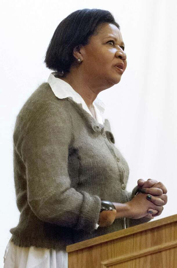 Author Jamaica Kincaid speaking before her book reading at Yale University's Linsly-Chittenden Hall April 10, 2013. vm Williams