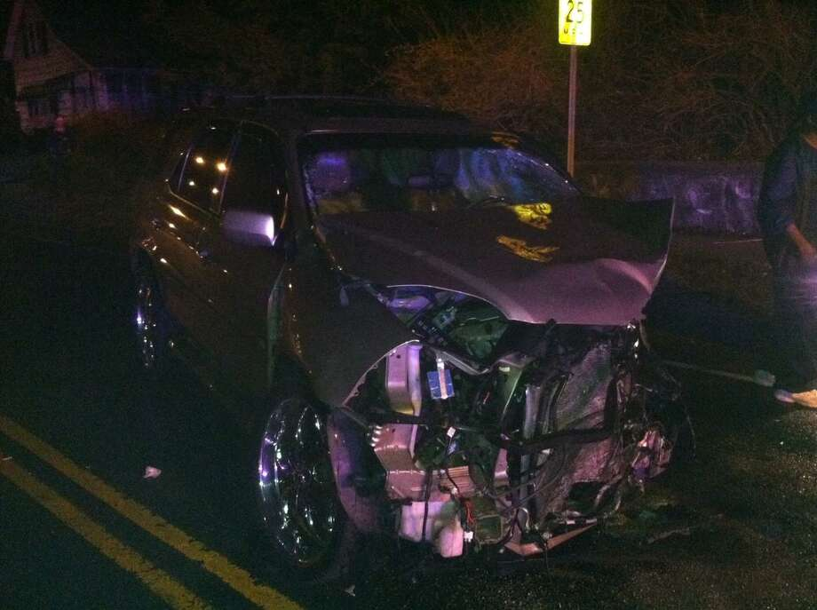 This photo submitted to The New Haven Register shows the damage to one of the cars involved in the crash.