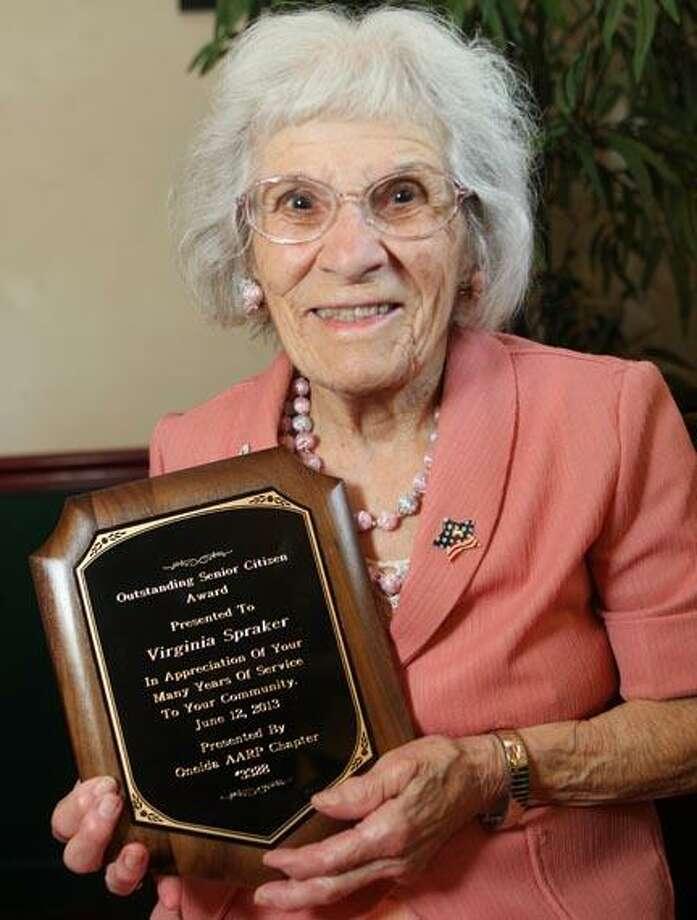 Virginia Spraker recipent of the  Outstanding Senior Citizen Award by the Oneida AARP Chapter 3328 on Wednesday, June 12, 2013. JOHN HAEGER @ONEIDAPHOTO ON TWITTER/ONEIDA DAILY DISPATCH