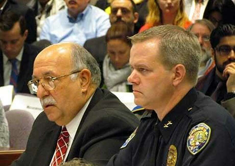 South Windsor Police Chief Matt Reed and Cromwell Police Chief Anthony Salvatore. Christine Stuart/CTNewsJunkie file photo