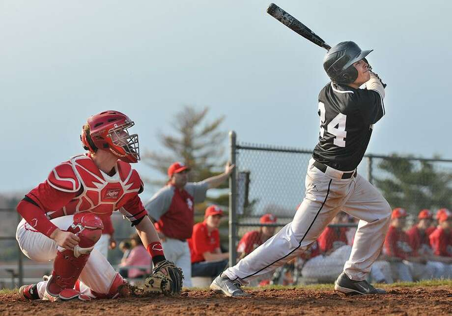 Catherine Avalone/The Middletown Press Xavier shortstop Jay Chaff up at bat against Fairfield Prep Wednesday afternoon. The Xavier Falcons defeated the Fairfield Prep Jesuits 7-1 at home. / TheMiddletownPress