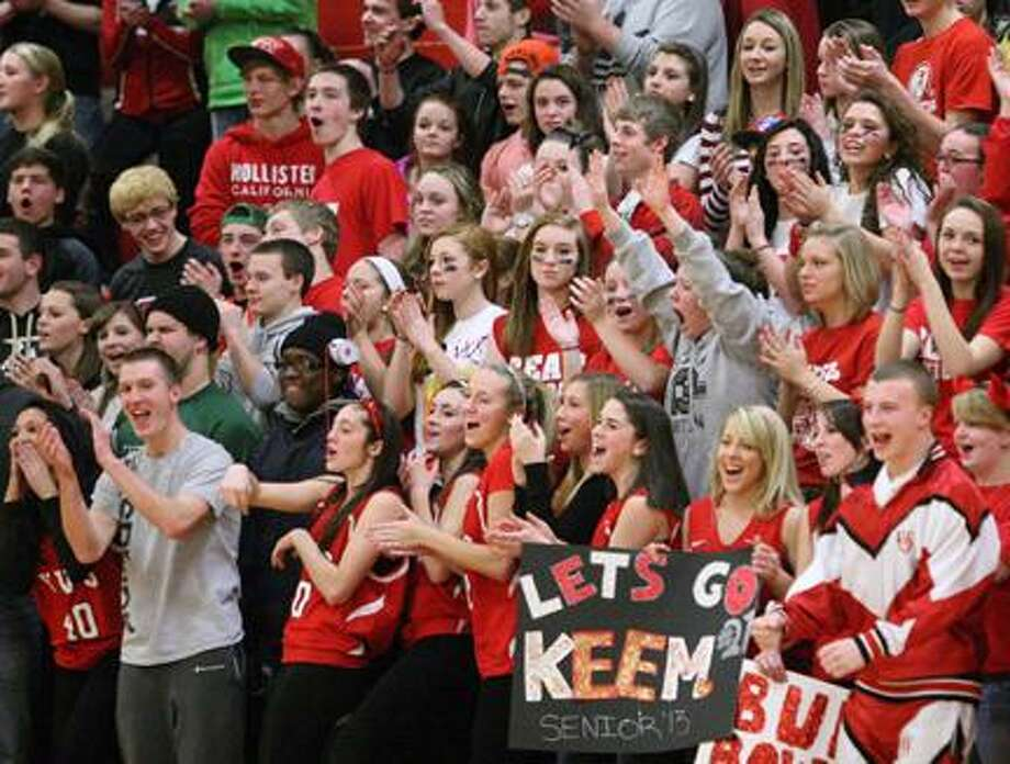 Dispatch Staff Photo by JOHN HAEGER (Twitter: @OneidaPhoto)VVS fans cheer during the game against Oneida on Tuesday, Feb. 5, 2013 in Verona.