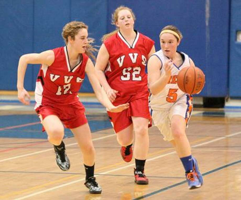 Dispatch Staff Photo by JOHN HAEGER (Twitter: @OneidaPhoto)Oneida's Jenna Didio (5) brings the ball down court as VVS' Therese Pitman (12) and Clara Richardson (52) defend in the second half of their game in Oneida on Tuesday, Feb. 5, 2013. Oneida won 44-32.