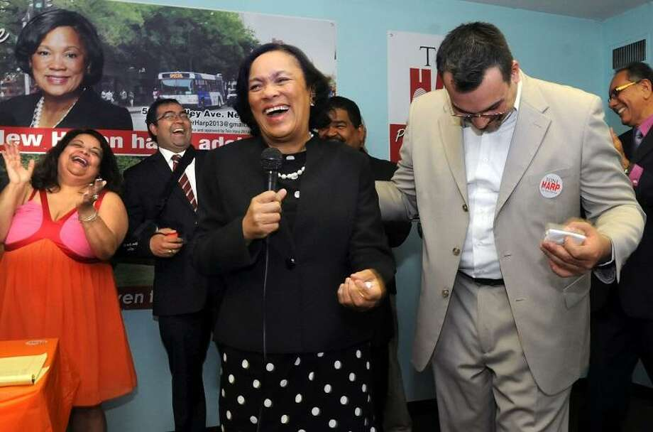Mara Lavitt Ñ Register On June 12, 2013 State Sen. Toni Harp was endorsed in her mayoral bid by leaders of New Haven's Latino community, including Alderwoman Migdalia Castro, left, and State Rep. Juan Candelaria, right, at the Fair Haven Elderly Apartments.
