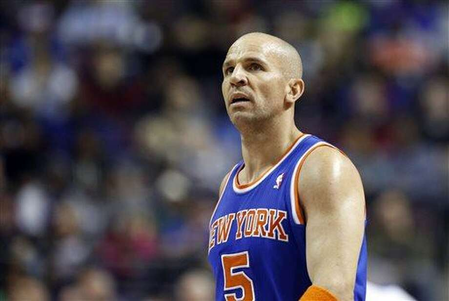FILE - In this March 6, 2013, file photo, New York Knicks guard Jason Kidd looks on during the second half of an NBA basketball game against the Detroit Pistons in Auburn Hills, Mich. A person with knowledge of the details says the Brooklyn Nets' coaching decision is down to Jason Kidd and Brian Shaw. Kidd met with general manager Billy King on Monday and Shaw is expected to meet with the team Wednesday. (AP Photo/Duane Burleson, File) Photo: AP / FR38952 AP