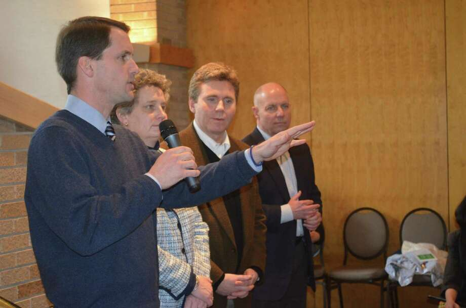 From left, Congressman Jim Himes, State Sen. Beth Bye, State Rep. Gerald Fox, Mike Lawlor, Connecticut Under Secretary for Criminal Justice Policy and Planning Photo by Tom Henry