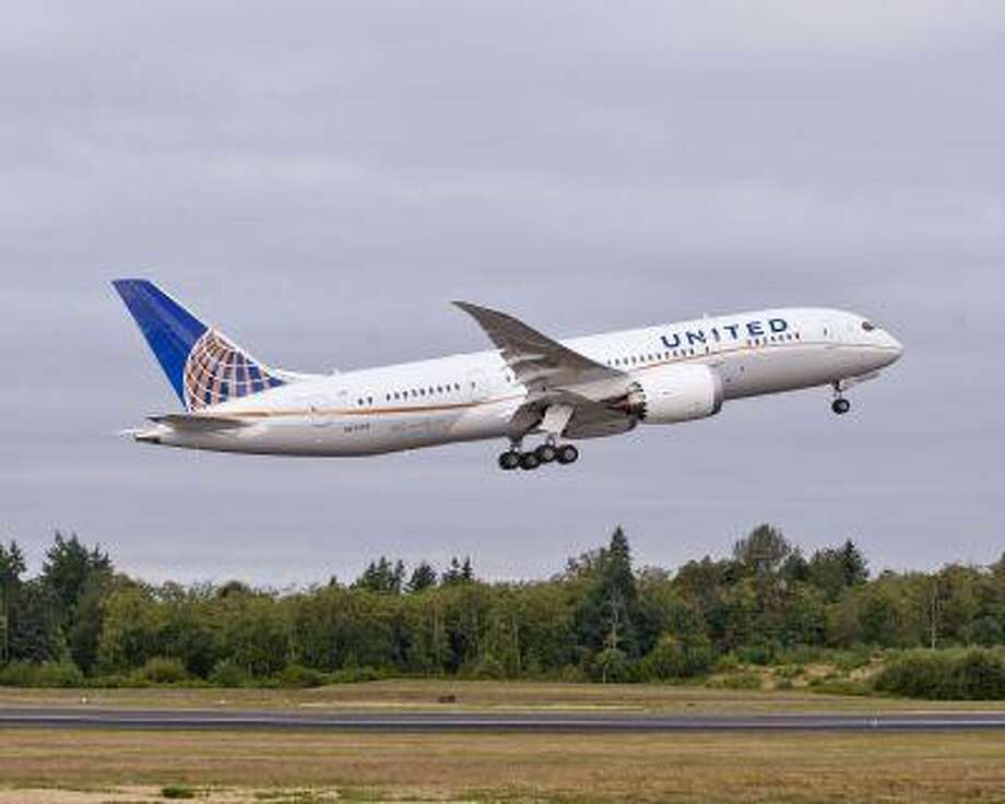 A Boeing 787 used by United Airlines is shown taking off. File handout photo. Photo: ASSOCIATED PRESS / Boeing2012