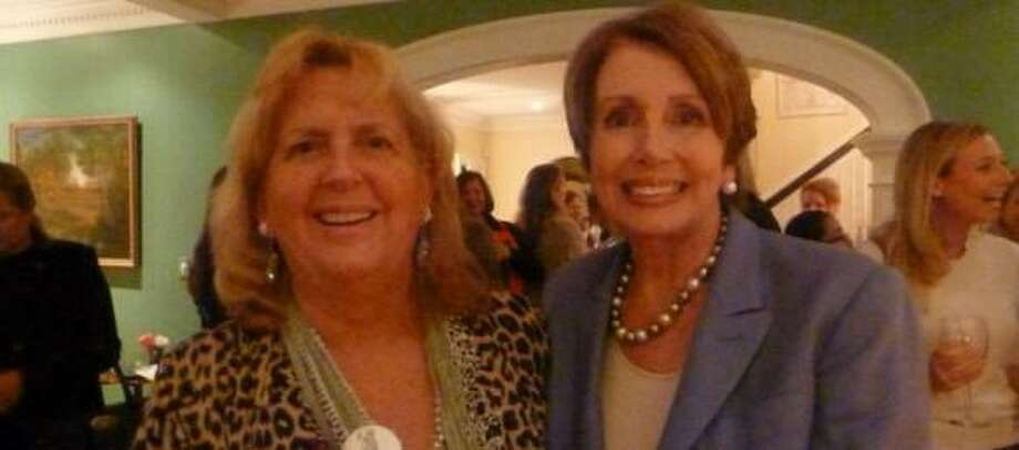 Audrey Blondin and U.S. Rep. Nancy Pelosi at a Greenwich fundraiser in 2012. FILE PHOTO.