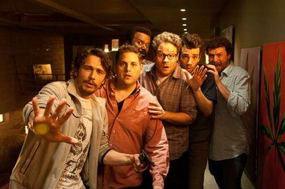 "L-r, James Franco, Jonah Hill, Craig Robinson, Seth Rogen, Jay Baruchel and Danny McBride star in Columbia Pictures' ""This Is The End."" Photo: Sony Pictures / © 2012 Columbia Pictures Industries, Inc. All Rights Reserved.  second line    **ALL IMAGES ARE PROPERTY OF SONY PICTURES ENTER"