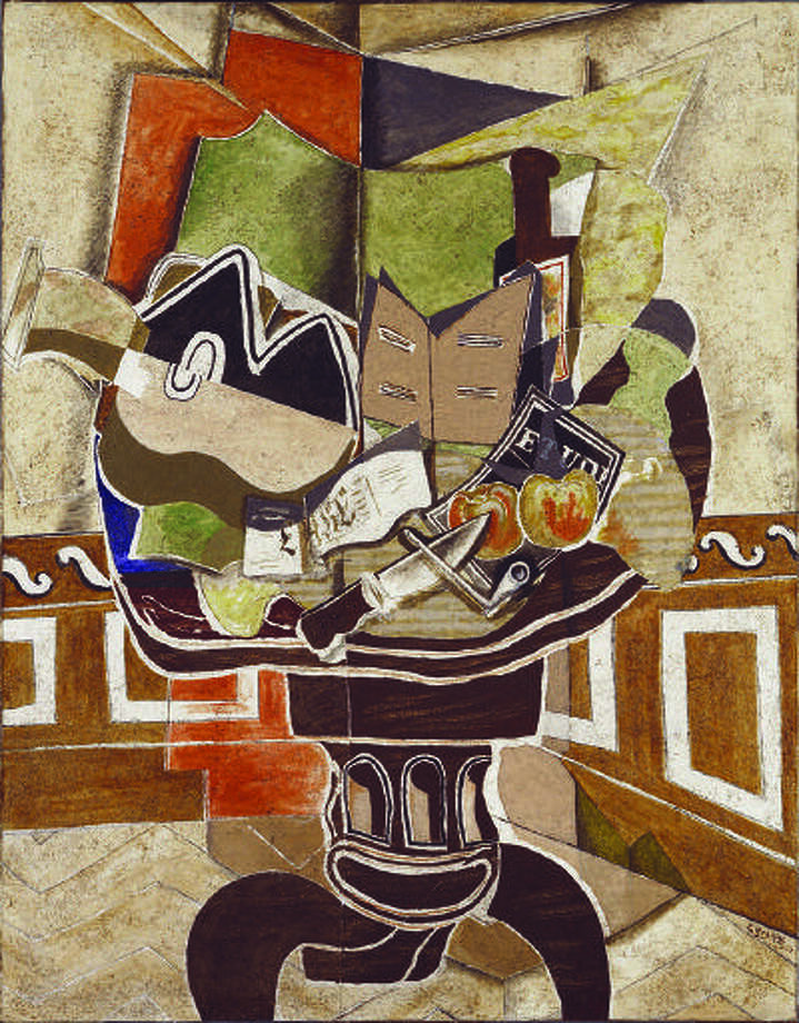 """ART BRAQUE: Georges Braque's 1941 painting """"Mandolin and Score (The Banjo)"""" was greatly admired by French poet Francis Ponge. """"That's the society for which I fought,"""" Ponge said of the painting. Illustrates ART-BRAQUE (category e), by Philip Kennicott (c) 2013, The Washington Post. Moved Saturday, June 8, 2013. (MUST CREDIT: Georges Braque, Collection of Charles and Palmer Ducommun via Artists Rights Society, New York/ADAGP, Paris)"""