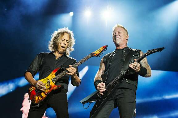 Kirk Hammett, left, and James Hetfield, of Metallica, perform during the Festival d'ete de Quebec on Friday July 14, 2017, in Quebec City, Canada. (Photo by Amy Harris/Invision/AP)