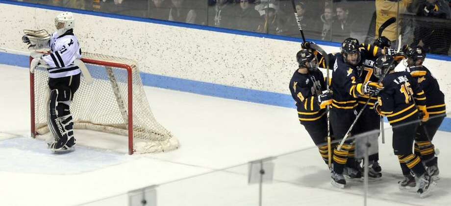 Quinnipiac at Yale, men's hockey, Ingalls Rink. QU celebrates their second goal. Mara Lavitt/New Haven Register2/2/13