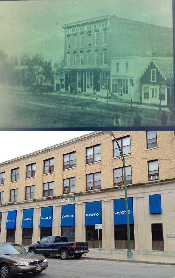 Above: The Merchant's Exchange. Below: Chase Bank.