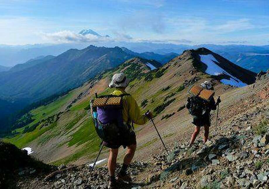 """Ultralight"" long-distance hikers on the Pacific Crest Trail head north in the Goat Rocks Wilderness in Washington state. Photo: Brandon White/pacific Crest Trai / Evantide Photography"