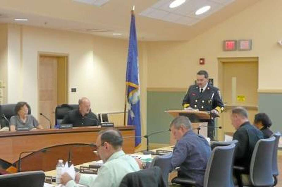 Kate Hartman/Register Citizen -- Fire Chief Gary Brunoli addressed the Board of Public Safety and the City Council about his proposed budget.