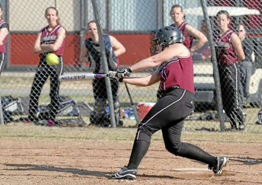 Marianne Killackey/Special to Register Citizen Torrington's Alexa Potter (#5) hits a double for an RBI in her team's win over Crosby. / 2013