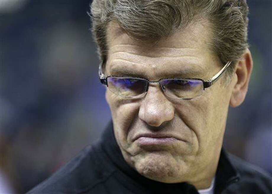 Connecticut head coach Geno Auriemma watches his team during practice at the Women's Final Four of the NCAA college basketball tournament, Saturday, April 6, 2013, in New Orleans.  UConn plays Notre Dame in a semifinal game on Sunday. (AP Photo/Dave Martin) Photo: AP / AP