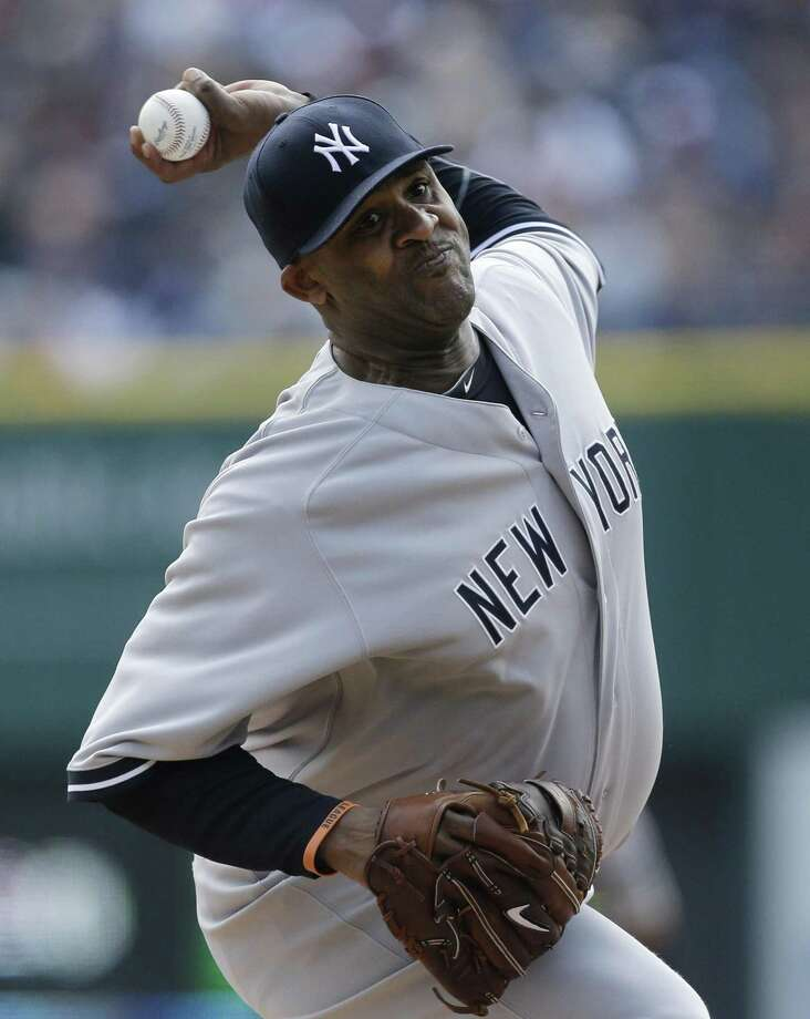 New York Yankees starting pitcher CC Sabathia throws during the first inning of a baseball game against the Detroit Tigers in Detroit, Sunday April 7, 2013. (AP Photo/Carlos Osorio) Photo: ASSOCIATED PRESS / AP2013