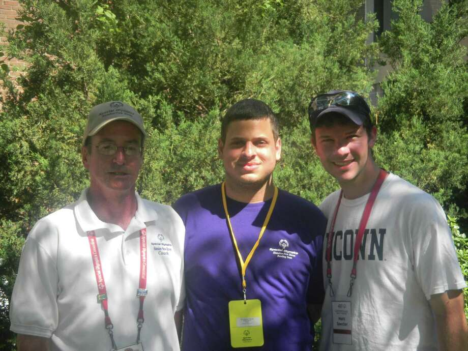 Local Coordinator of the Hamden-New Haven Special Olympics Connecticut Program Kevin Fitzgerald, Sergio Digioia, and Matt Spector.