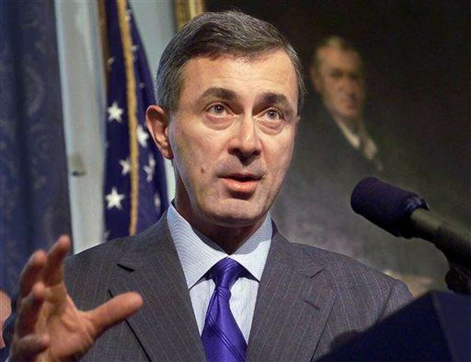 In this Feb. 22, 2000 file photo, Massachusetts Gov. Paul Cellucci addresses members of the media during a news conference at the Statehouse in Boston. Former Massachusetts Gov. Argeo Paul Cellucci has died of complications from ALS, also known as Lou Gehrig's Disease. He was 65. His death was announced Saturday, June 8, 2013 on behalf of his family by Dr. Michael F. Collins, chancellor of the University of Massachusetts Medical School, where Cellucci was involved in raising funds for ALS research.  (AP Photo/Steven Senne, File) Photo: AP / AP