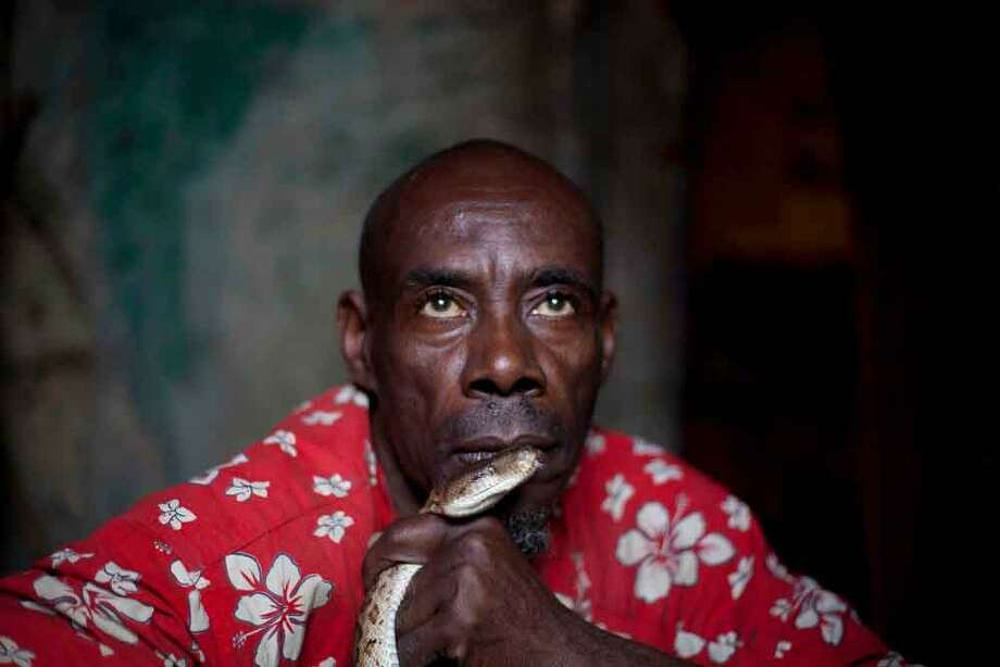 In this Jan. 25, 2013 photo, snake handler Saintilus Resilus holds a snake in front of his lips as he trains the snake to recognize his smell as he prepares for his street performances during the pre-Lenten Carnival season, at his home in Petionville, Haiti. Resilus sees himself as something of a performance artist, showing off with snakes and other animals that Haitians don't see every day, earning tips from impromptu audiences. (AP Photo/Dieu Nalio Chery) Photo: ASSOCIATED PRESS / AP2013